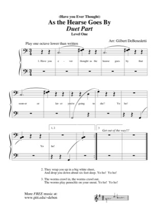 Thumbnail of first page of (Have You Ever Thought) As the Hearse Goes By (duet) piano sheet music PDF by Kids.