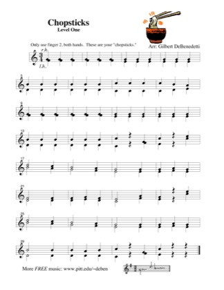 Thumbnail of first page of Chopsticks piano sheet music PDF by Kids.