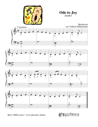 Thumbnail of first page of Ode to Joy (Lvl 1.2) piano sheet music PDF by Kids.