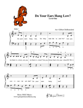 Thumbnail of first page of Do Your Ears Hang Low? piano sheet music PDF by Kids.