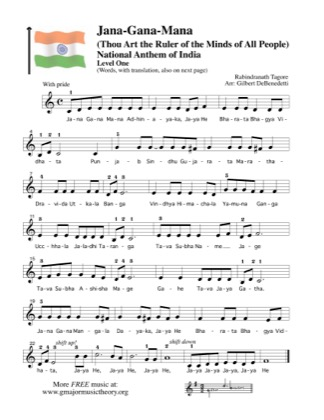 Thumbnail of first page of Jana-Gana-Mana, National Anthem of India piano sheet music PDF by Kids.
