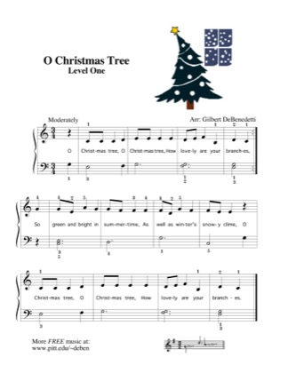 Thumbnail of first page of O Christmas Tree piano sheet music PDF by Kids.