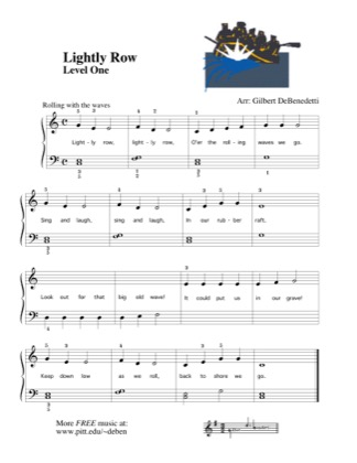 Thumbnail of first page of Lightly Row piano sheet music PDF by Kids.