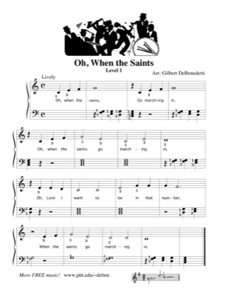 Thumbnail of first page of Oh, When the Saints (Lvl 1) piano sheet music PDF by Kids.