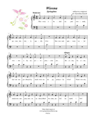 Thumbnail of first page of Wiosna / Springtime piano sheet music PDF by Kids.