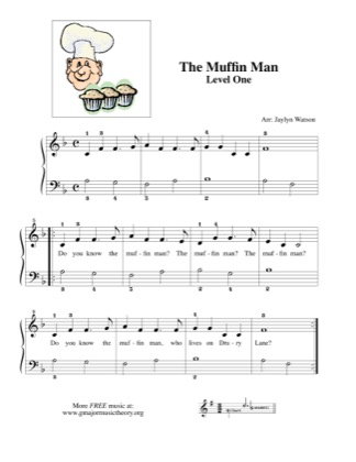 Thumbnail of first page of Do You Know the Muffin Man? piano sheet music PDF by Kids.