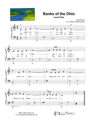 Thumbnail of first page of Banks of the Ohio (Lvl 1) piano sheet music PDF by Kids.