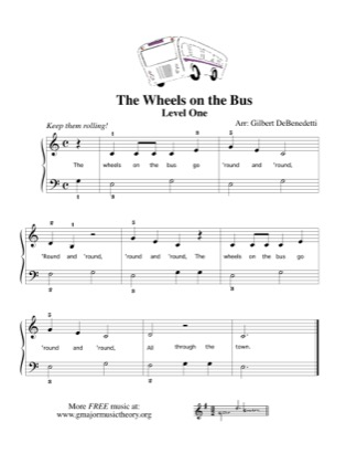 Thumbnail of first page of The Wheels on the Bus piano sheet music PDF by Kids.