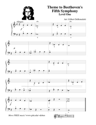 Thumbnail of first page of Theme to Beethoven's Fifth Symphony (Lvl 1) piano sheet music PDF by Kids.
