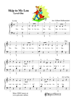 Thumbnail of first page of Skip to my Lou (2) piano sheet music PDF by Kids.