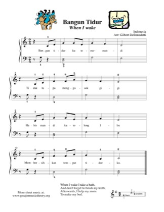 Thumbnail of first page of Bangun Tidur/When I Wake--from Indonesia piano sheet music PDF by Kids.