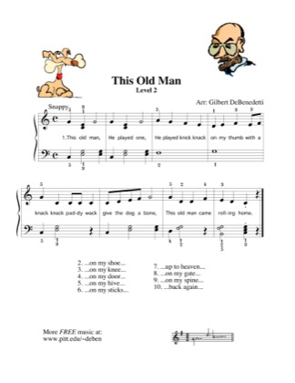 Thumbnail of first page of This Old Man piano sheet music PDF by Kids.