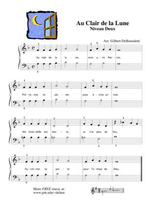 Thumbnail of first page of Au Clair de la Lune piano sheet music PDF by Kids.