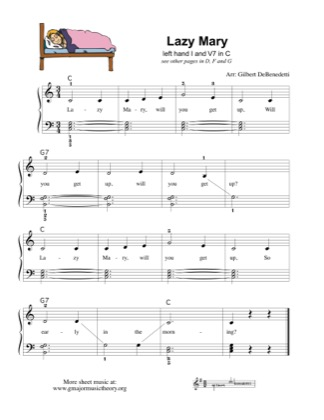 Thumbnail of first page of Lazy Mary left hand practice with I & V7 piano sheet music PDF by Kids.