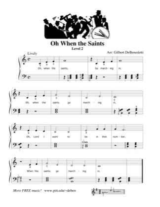 Thumbnail of first page of Oh When the Saints piano sheet music PDF by Kids.