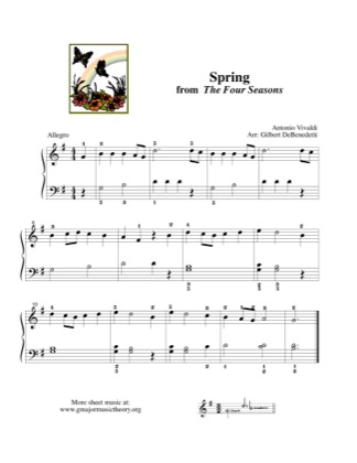 Thumbnail of first page of Spring, from The Four Seasons piano sheet music PDF by Vivaldi.
