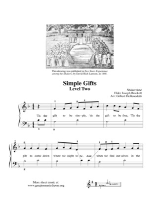 Thumbnail of first page of Simple Gifts (2) piano sheet music PDF by Kids.
