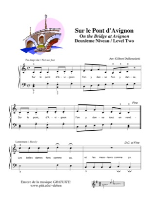 Thumbnail of first page of Sur le Pont d'Avignon piano sheet music PDF by Kids.