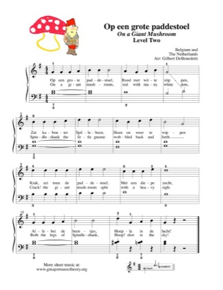 Thumbnail of first page of Op een grote paddestoel/ On a Giant Mushroom piano sheet music PDF by Kids.