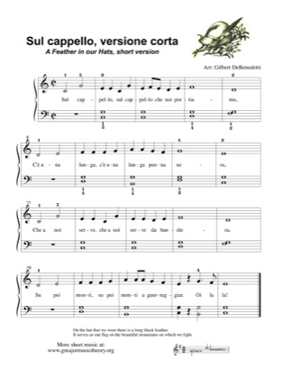 Thumbnail of first page of Sul Cappello/A Feather in our Hat piano sheet music PDF by Kids.
