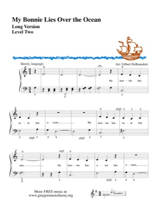 Thumbnail of first page of My Bonnie Lies over the Ocean, long version piano sheet music PDF by Kids.