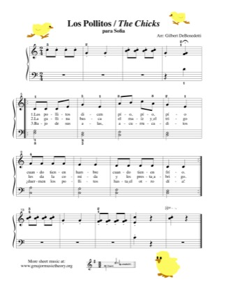 Thumbnail of first page of Los Pollitos / The Chicks piano sheet music PDF by Kids.