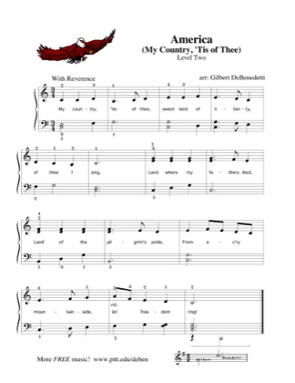 Thumbnail of first page of America (My Country, 'Tis of Thee) piano sheet music PDF by Kids.