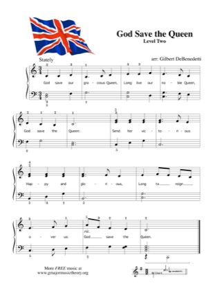 Thumbnail of first page of God Save the Queen piano sheet music PDF by Kids.