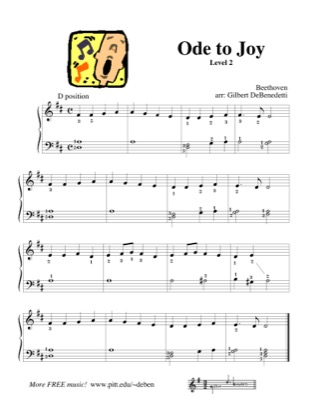 Thumbnail of first page of Ode to Joy (Lvl 2) piano sheet music PDF by Kids.