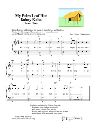 Thumbnail of first page of Bahay Kubo My Palm Leaf Hut Thank you (lvl 2) piano sheet music PDF by Mama Lisa.
