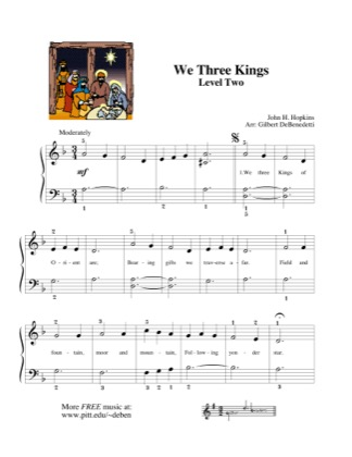 Thumbnail of first page of We Three Kings piano sheet music PDF by Kids.