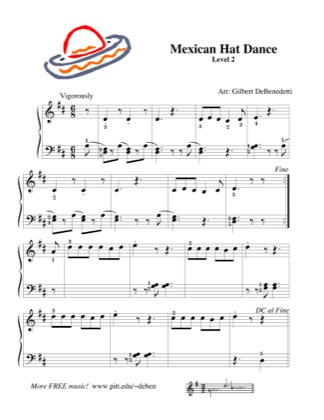 Thumbnail of first page of Mexican Hat Dance piano sheet music PDF by Kids.