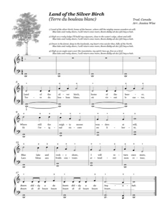 Thumbnail of first page of Land of the Silver Birch (Terre du bouleau blanc) piano sheet music PDF by Kids.