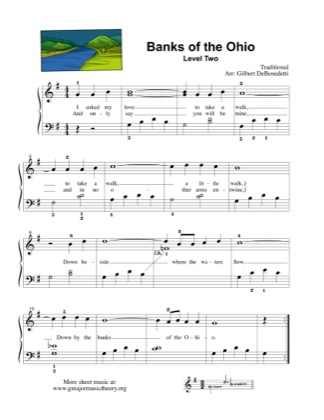Thumbnail of first page of Banks of the Ohio (Lvl 2) piano sheet music PDF by Kids.