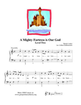 Thumbnail of first page of A Mighty Fortress is Our God (2) piano sheet music PDF by Kids.