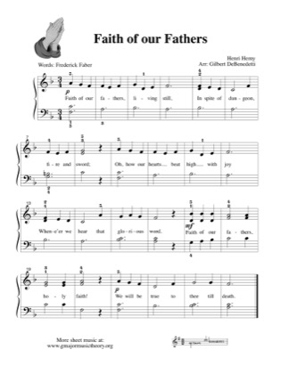 Thumbnail of first page of Faith of Our Fathers piano sheet music PDF by Kids.