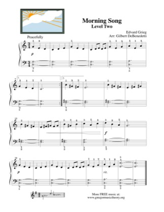 Thumbnail of first page of Morning Song piano sheet music PDF by Grieg.