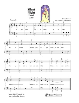 Thumbnail of first page of Silent Night piano sheet music PDF by Kids.