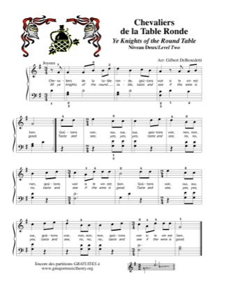Thumbnail of first page of Chevaliers de la Table Ronde / Ye Knights of the Round table piano sheet music PDF by Kids.