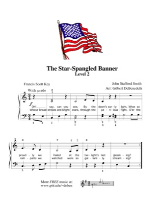 Thumbnail of first page of The Star-Spangled Banner piano sheet music PDF by Kids.
