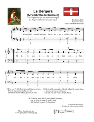 Thumbnail of first page of La Pastora (A l'umbreta del bussun)/ The shepherdess piano sheet music PDF by Kids.