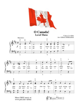 Thumbnail of first page of O Canada! piano sheet music PDF by Kids.