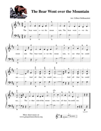 Thumbnail of first page of The Bear Went Over The Mountain piano sheet music PDF by Kids.