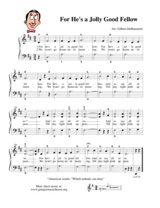 Thumbnail of first page of For He's a Jolly Good Fellow piano sheet music PDF by Kids.