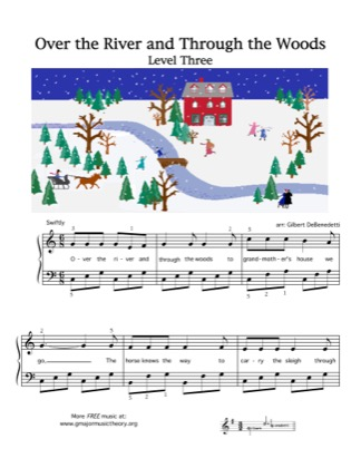Thumbnail of first page of Over the River and Through the Woods piano sheet music PDF by Kids.