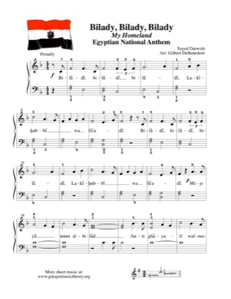 Thumbnail of first page of Bilady / My Homeland, Egyptian National Anthem  piano sheet music PDF by Kids.