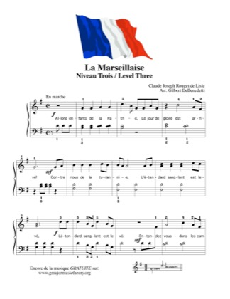 Thumbnail of first page of La Marseillaise, French National Anthem  piano sheet music PDF by Kids.