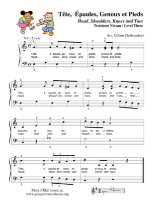 Thumbnail of first page of Tete, Epaules, Genoux et Pieds / Head, Shoulders, Knees & Toes piano sheet music PDF by Kids.