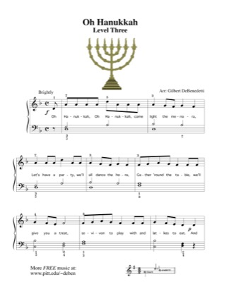 Thumbnail of first page of Oh Hanukkah piano sheet music PDF by Kids.
