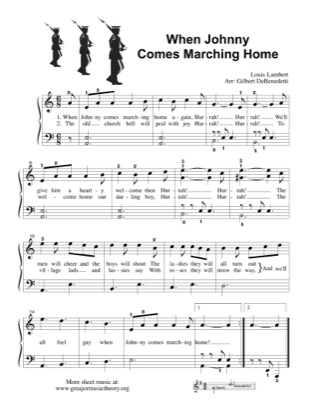 Thumbnail of first page of When Johnny Comes Marching Home piano sheet music PDF by Kids.